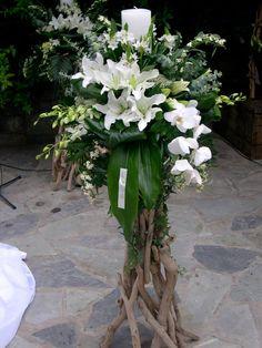 λαμπάδες γάμου με φρέσκα άνθη σε βάσεις από θαλασσόξυλα ..στολισμός εκκλησίας..wedding decoration with driftwood Wedding Decorations, Wedding Ideas, Flower Arrangements, Party, Flowers, Weddings, Google, Design, Mariage