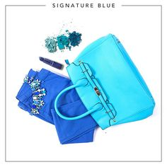 Bring out the blue hues with an oversized bag and your favourite colour popping jeans!