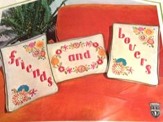 Fab floral designs frames the words- one on each- friends and lovers. Totally 1971! Finished size 8 x 11- pillow forms not includedkit contains: 100% virgin wool colorful crewel yarn, design stamped on sturdy fine quality 100% belgian linen, matching boxing strips, veltex nylon piping, zippers, crewel needle, easy instructions kit is in new old stock sealed condition. Free first class us mail shipping us customers. Please visit my ebay store: violetsoup international buyers – please note…