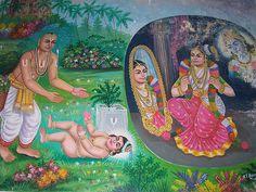 A painting of Periyazhwar finding Andal and Andal as Soodi Kuduttha Nachiyar