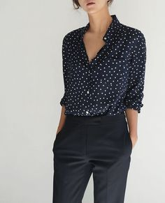 Love the blouse but with lighter and tighter trousers..cream or fawn maybe?