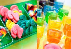 rainbow colored sugar cookies, and jello in plastic wine glasses