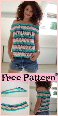 Pretty Crochet Summer Blouse - Free Pattern - Diy 4 Ever Crochet Girls, Crochet Woman, Easy Crochet, Knit Crochet, Crochet Scarfs, Crochet Bodycon Dresses, Black Crochet Dress, Crochet Blouse, Crochet Summer Tops