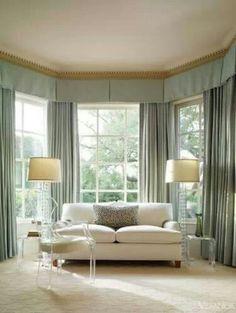 Silk blue curtains
