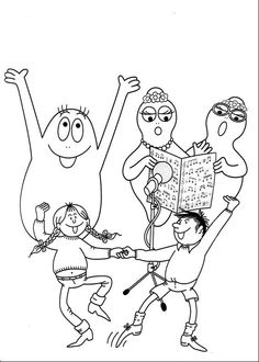 Barbapapa Sing Together Coloring Pages For Kids, Coloring Books, Illustration, Singing, Poster, Snoopy, Printables, Prints, Fictional Characters