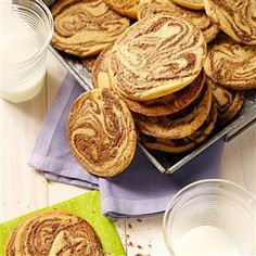 Chocolate-Swirled Peanut Butter Cookies Recipe -Our kids most requested cookies are peanut butter and chocolate chip, so I came up with this recipe combining those favorite flavors. The two doughs swirled created a lovely pattern on the cookie. There's no need for additional decoration.—Lori Kesinger, Baker, Montana