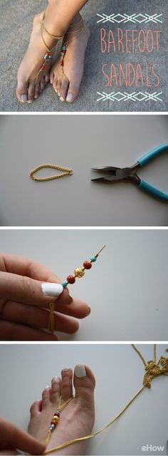 Barefoot Sandals: So in for summer's spent outdoors! Do you want to make boho-inspired barefoot sandals for summer? This project takes under an hour to complete, and you can get all the materials at your local craft store. Boho Jewelry, Jewelry Crafts, Jewelery, Handmade Jewelry, Accessories Jewellery, Beaded Crafts, Summer Accessories, Tribal Jewelry, Handmade Bags