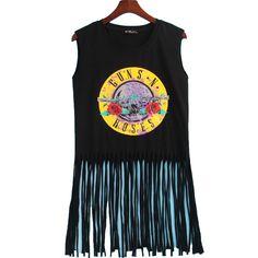 2 Colors Sexy Hot T Shirt Women GUNS N ROSES Print Crop Top T-shirt Women Cropped Tops Tassel Hollow Out Sleeveless Tee Shirt