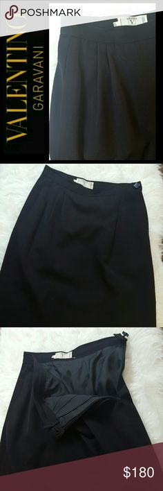 Valentino Miss V Italy Skirt Valentino Miss V Collection in Classic Black Skirt! A Timeless Addition to Every Woman's Wardrobe! Side Zipper with Button Closure, Front Pleat and Finely Woven Fabric! Fully Lined, Made in Italy with EU Size 40, with US Size 4 or 6,  Approx Hips 13 inches, Length 21 inches,  Perfect All Year Round! Excellent Used Condition! Valentino Skirts