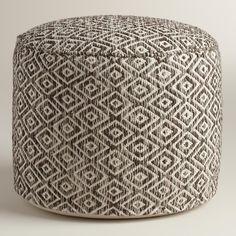 Brown and White Diamond Wool Pouf | World Market