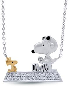 """Peanuts® 1/5 CT. T.W. Diamond Enamel Snoopy and Woodstock Bar Necklace in Sterling Silver and 10K Gold Plate You can almost hear Snoopy saying """"Curse you, Red Baron!"""" Peanuts® presents this fun sterling silver diamond bar-shaped necklace, topped with an enameled Snoopy as the World War I Flying Ace. His trusty pal Woodstock, here in warm 10K gold, ever by his side. Radiant with 1/5 ct. t.w. of diamonds and  {affiliate link}"""