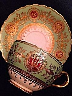 Amazing Coalport Raised Gold Guild and Medallions Cup and Saucer by jane