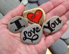 Painted rocks / I Love You Magnets / Sandi Pike Foundas / Cape Cod Beach Stone