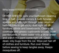 Speed Cleaning Tips: Dryer Sheets = Miracle cleaner Diy Home Cleaning, Household Cleaning Tips, Cleaning Recipes, House Cleaning Tips, Spring Cleaning, Cleaning Hacks, Cleaning Supplies, Household Cleaners, Organizing Tips