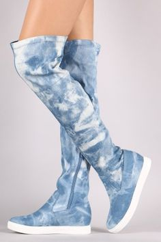 Denim Over-The-Knee Sneaker Boots Thigh High Boots, High Heel Boots, Shoe Boots, Look Fashion, Fashion Boots, Sneakers Fashion, Denim Boots, Jeans And Boots, Knee Socks Outfits