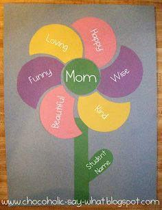 Mother's Day Adjective Flower Made With Construction Paper