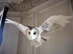 owl sculpture made of paper