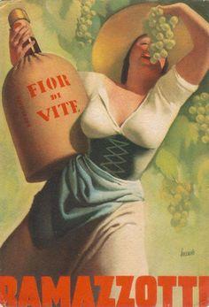 Illustration by Gino Boccasile (1901 – 1952) #ramazzotti #advertising #italiandesign