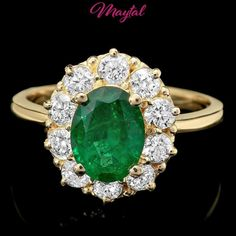 $7000 CERTIFIED 14K YELLOW GOLD 1.55CT EMERALD 0.90CT DIAMOND RING #Cocktail