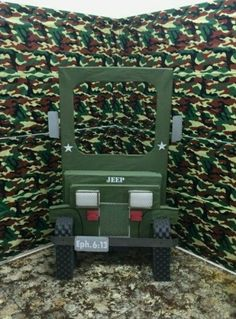Our jeep photo opt for vbs boot camp Camouflage Birthday Party, Godzilla Birthday Party, Army Birthday Parties, Army's Birthday, Camo Party, Army Party Decorations, Soldier Party, Army Crafts, Laser Tag Party