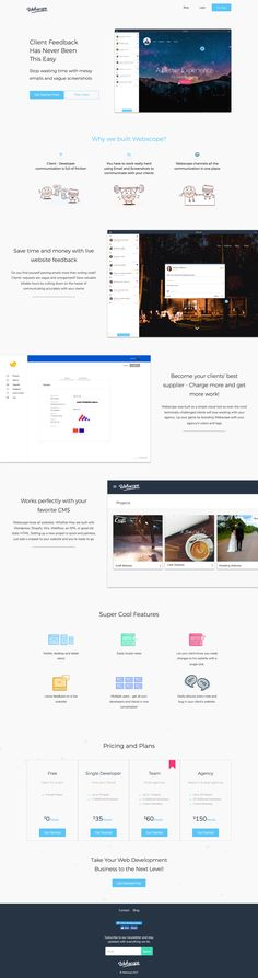 Neat Landing Page for Webscope, a new client/dev feedback tool. Would have loved some interactive hot-spots throughout the page (like the app features) but definitely a good overview of the product.