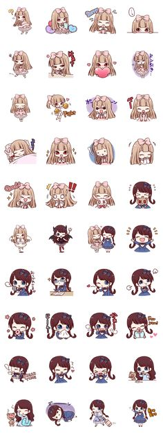 Girls of Lolita fashion such as the doll. The angry and laughing, crying, can be used in various situations stamp of two expressive. Kawaii Faces, Kawaii Chibi, Kawaii Cute, Kawaii Anime, Emoji Stickers, Kawaii Stickers, Cute Stickers, Planner Doodles, Wallpaper Stickers