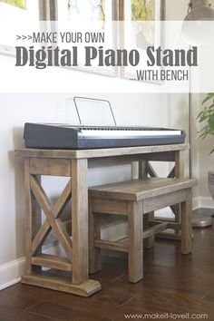 #woodworkingplans #woodworking #woodworkingprojects DIY Digital Piano Stand and Bench (...a $25 project!!) | via makeit-loveit.com
