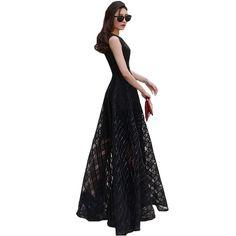 2016 New Women Summer Dress Elegant Ladies Vintage Black Organza Sleeveless Long Beach Maxi Dress Sundress Vestidos Femininos
