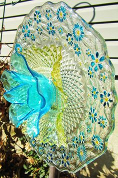 garden art garden gift glass plate flower by Adelicatetouch1