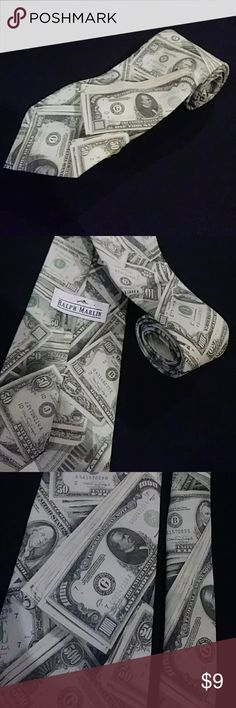 Ralph Marlin Tie US Money Dollar Bill Novelty NEW UP FOR SALE IS A 100% AUTHENTIC RALPH MARLIN TIE. IT IS 100% POLYESTER AND IS NEW WITHOUT TAGS. MEASUREMENTS: 3-5/8 WIDE, 57 LONG. PLEASE MESSAGE ME WITH ANY QUESTIONS. MAKE ME A REASONABLE OFFER!!!  Get A 25% Discount When You Bundle Up 5 Items. Ralph Marlin Accessories Ties