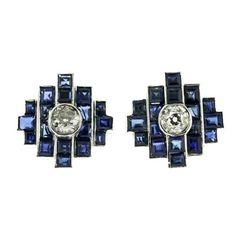 1stdibs.com | Art Deco Sapphire and Diamond Earrings