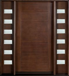 We love the deep rich mahogany of this door! We can custom build this door (and the sidelights) for you at https://pivotdoorcompany.com/Exterior-Doors/