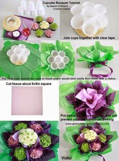 How to Make a Simple Cupcake Bouquet - a perfect gift idea! How to make a cupcake couquet by Queen of Hearts Couture Cupcakes Cupcake Flower Bouquets, Flower Cupcakes, Simple Cupcakes, Cake Flowers, Diy Cupcake Flower Arrangement, Beautiful Cupcakes, Strawberry Cupcakes, Easter Cupcakes, Christmas Cupcakes