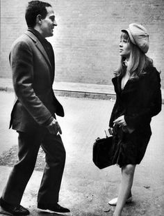 Francois Truffaut with Julie Christie during filming of Fahrenheit 451 in 1966