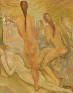"Ger LANGEWEG, ""bosnimfen"" ('forest fairies'), oil on canvas,  67 x 52.5 cm."