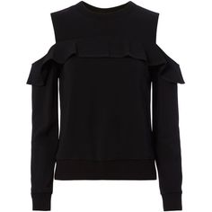 A.L.C. Women's Lindsey Cold Shoulder Top ($345) ❤ liked on Polyvore featuring tops, black, open shoulder long sleeve top, ruffle top, cut out long sleeve top, long sleeve tops and a.l.c top