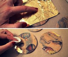 step 5 placing gold leaf on the coasters on the spots where the image faded