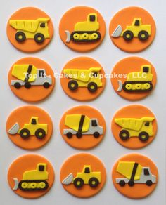 Fondant Cupcake Toppers - Construction Trucks by TopItCupcakes on Etsy https://www.etsy.com/listing/190377798/fondant-cupcake-toppers-construction