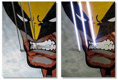 Lobezno: 1000x700x220mm. Panel mdf 16mm. Chapa de acero 3mm. Chapa de acero inox. 6mm (garras). Led. Pintura acrílica.