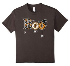 Boo Halloween T-Shirt With Spiders And Witch Hat Women Halloween, Halloween Boo, Spiders, Branded T Shirts, Fashion Brands, Witch, Hats, Mens Tops, Hat