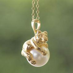 Gold Plate and Swarovski Crystal Pearl Bear Necklace - Bear Hug | NOVICA
