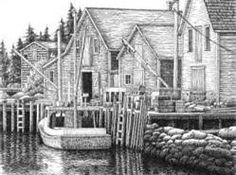pen and ink drawing dock/marina- Bing Images