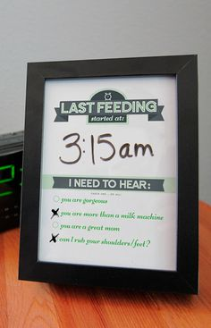 Great gift for new moms!   Dry Erase Newborn Feeding Tracker via Etsy.