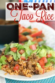 One Pan Taco Rice Dinner recipe is a whole meal in one. Super simple but super flavorful. I could eat this every night of the week!