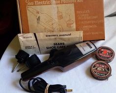 VINTAGE SEARS ONE SPEED ELECTRIC SHOE POLISHER KIT-#3242-NO BUFFER-3 BRUSHES…
