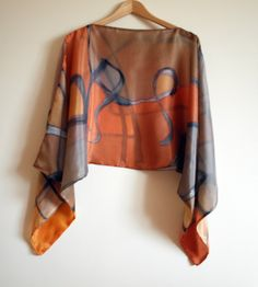 Silk blouse hand painted-Silk scarf-Wedding blouse-Scarves for her-Wedding silk top-Silk handpainted-Ooak silk blouse-Blouse orange-tan-grey by gilbea on Etsy