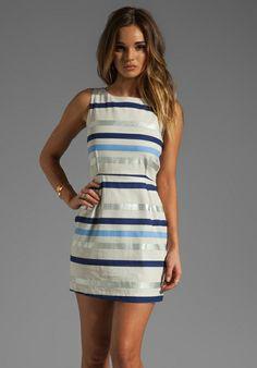 BB DAKOTA Delaine Stripe Dobby Dress in Multi Blue - New