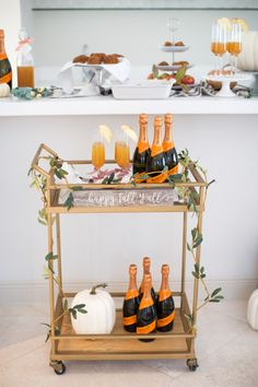 Fall Brunch Party Brunch Bar, Brunch Decor, Bar Cart Styling, Bar Cart Decor, Mionetto Prosecco, Apple Cider Mimosa, Fashionable Hostess, Food Themes, Autumn Theme