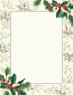 Painterly Holly Letterhead - Click Image to Close Christmas Writing, Christmas Fonts, Christmas Border, Christmas Graphics, Christmas Frames, Christmas Scenes, Christmas Clipart, Christmas Background, Christmas Gift Tags