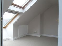loft conversions I wonder.if we can put these windows in the playroom? Attic Loft, Loft Room, Bedroom Loft, Attic Design, Loft Design, House Design, Small Loft Spaces, Attic Spaces, Attic Conversion Room